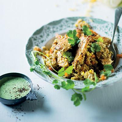 Chicken couscous with coriander buttermilk