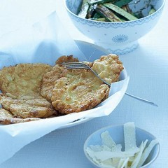 Chicken escalopes with grilled marrows and Parmesan