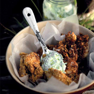 Chicken wings with spring onion-and-chive yoghurt dip