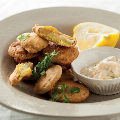Chickpea-battered sweet potato fritters