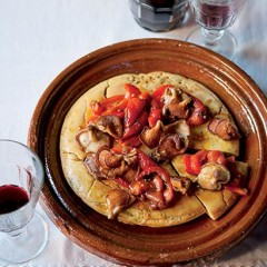 Chickpea-flour pizzas with charred peppers and mushrooms