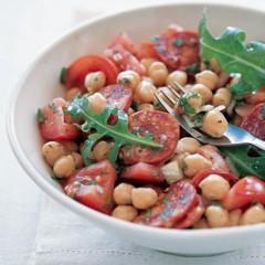 Chickpea, tomato and chorizo salad