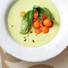 Chilled avocado and yoghurt soup with sweet melon