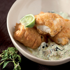 Chilli-bite battered fish with brinjal-and-coriander tzatziki