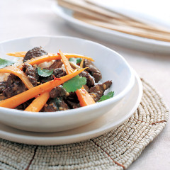 Chilli-orange ostrich, carrot and coriander stir-fry
