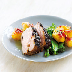 Chinese roasted pork neck with a peachy salsa