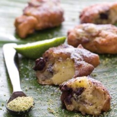Chocolate, banana and blue cheese dumplings with pistachio dust