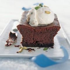 Chocolate cake with pistachio ice-cream