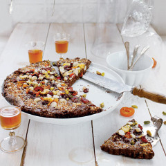 Chocolate, fruit and coconut tart