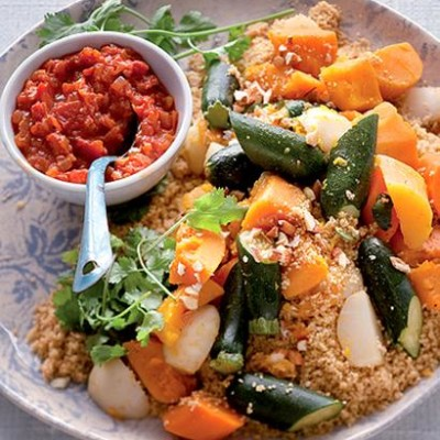 Chunky vegetables with toasted couscous and spicy tomato sauce