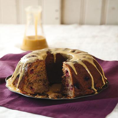 Cinnamon crumb cake with maple glaze