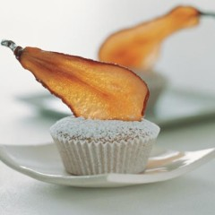 Cinnamon friands with sweet pear crisps