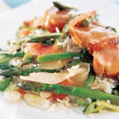 Citrus duck with basmati stir fry