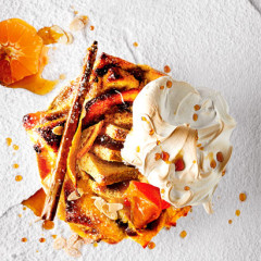 Citrusy bread-and-butter pudding with Italian meringue