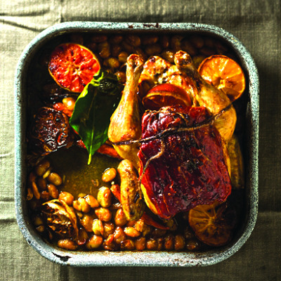 Citrusy roast chicken with serrano ham