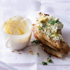 Classic egg mayo on stacked toasts