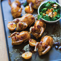 Clemengold and cranberry stuffed quails with spicy spinach