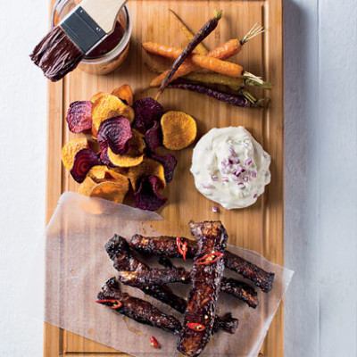 Cocoa riblets with vegetable chips