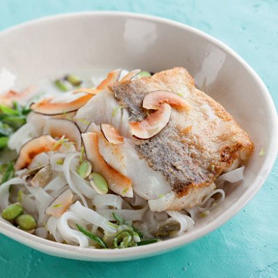 Coconut-and-cardamom rice noodles with pan-fried hake