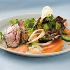 Coconut and sweet soya lamb with a fresh papaya dressing