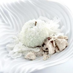 Coconut apple with shredded fresh coconut and halva