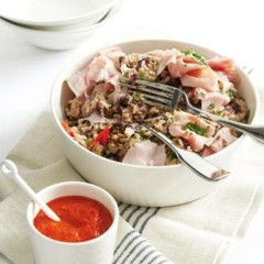 Coconut brown rice with red beans and ham