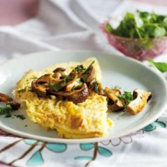 Coconut-milk omelette with marinated mushroom