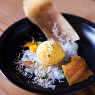 Coconut tapioca with passion fruit sorbet and spring roll crisps