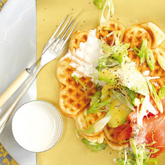 Coconut waffles with salmon and avocado