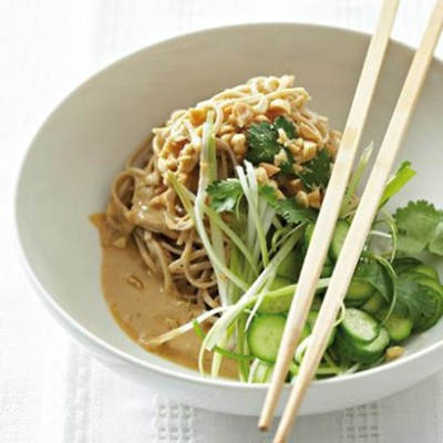 Cold soba noodles with peanut sauce