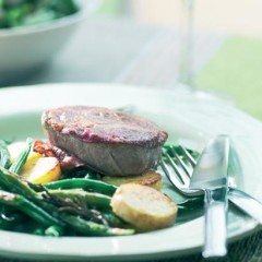 Coppa and beef medallion sandwiches with grilled green beans and potatoes