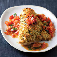 Coriander and chilli-crumbed fish with chunky tomatoes