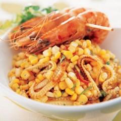 Corn stir fry with prawn skewers