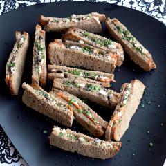 Cream cheese and prawn finger sandwiches