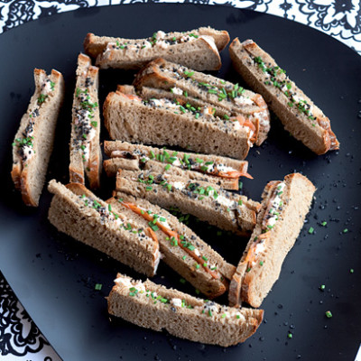 Cream cheese and prawn finger sandwiches