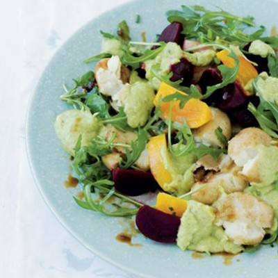 Creamed avocado with yellow and red beetroot, squashed potato and watercress