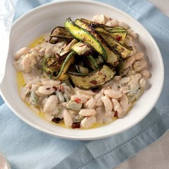 Creamy beans with pan-fried baby marrow ribbons