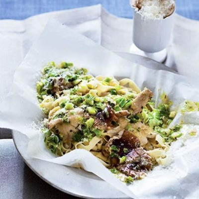 Creamy leek, shiitake mushroom and baked fresh pasta parcel