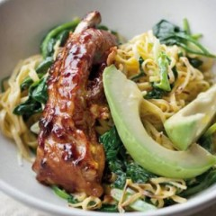 Creamy noodles with wilted Asian greens and sticky ribs