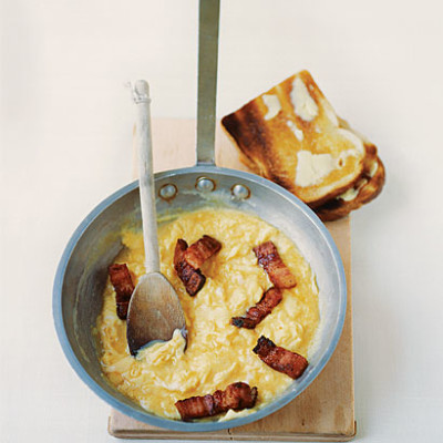 Creme Fraiche scrambled egg with pancetta