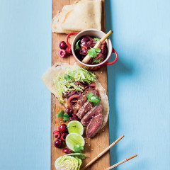 Crispy duck pancakes with cherry-and fennel chutney