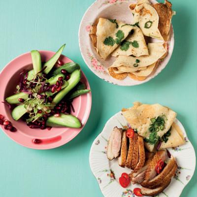Crispy five-spiced duck pancakes
