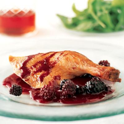 Crispy roast duck with port and fresh blackberry sauce