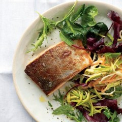 Crispy salmon with creamy, lemony avocado coleslaw