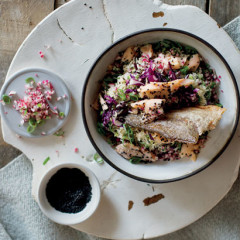Crispy trout with rice and sesame salad