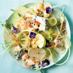 Crunchy apple-and-celery salad with blue cheese, candied walnuts and biltong dust