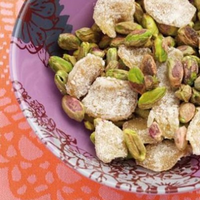 Crystallised ginger with salted pistachios
