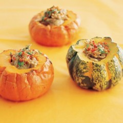 Cuban-style pulled pork in baked squash