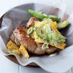 Cumin and lemon pork chops and corn salsa