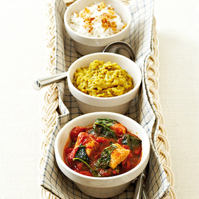 Curried fish with dhal